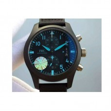 Replica IWC Pilot Chronograph Top Gun IW388003 Ceramic Black Dial Blue Markers