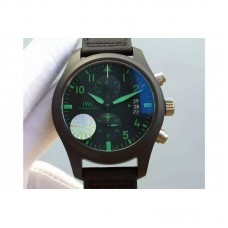 Replica IWC Pilot Chronograph Top Gun IW388003 Ceramic Black Dial Green Markers