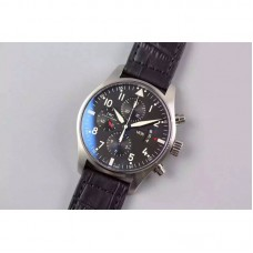 Replica IWC Pilot IW3777 Chronograph Stainless Steel Black Dial