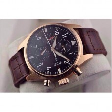Replica IWC Pilot IW3777 Chronograph Rose Gold Black Dial