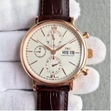 Replica IWC Portofino Chronograph IW391020 Rose Gold White Dial