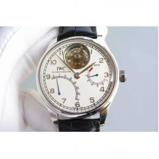 Replica IWC Portugese Tourbillon Mystere Retrograde IW504601 Power Reserve Stainless Steel White Dial