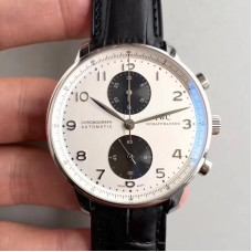 Replica IWC Portugieser Chronograph IW3714-11 Stainless Steel White Black Dial