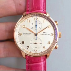 Replica IWC Portugieser Chronograph IW3714 Rose Gold White Dial