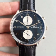 Replica IWC Portugieser Chronograph IW371404 Stainless Steel Black White Dial