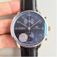 Replica IWC Portugieser Chronograph IW371447 Stainless Steel Black Dial