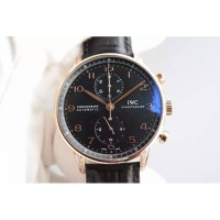 Réplique IWC Portuguese Chronographe Or Rose Diamants Cadran Noir