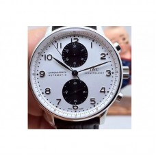 Replica IWC Portuguese IW3714 Chronograph Stainless Steel White Black Dial
