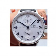 Replica IWC Portuguese IW371417 Chronograph Stainless Steel White Dial Blue Markers