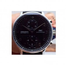 Replica IWC Portuguese IW371438 Chronograph Stainless Steel Black Dial