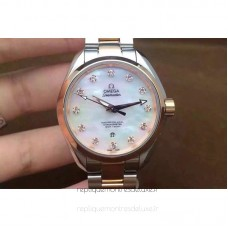 Replica Omega Aqua Terra 150M Lady 34MM Rose Gold /Stainless Steel Pearl Dial