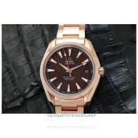 Réplique Omega Aqua Terra 41MM Or rose marron Dial
