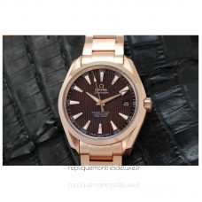 Replica Omega Aqua Terra 41MM Rose Gold Brown Dial