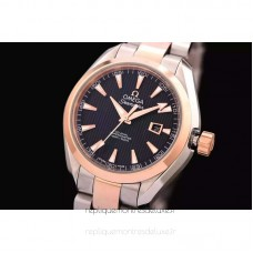 Replica Omega Aqua Terra Lady 34MM Rose Gold /Stainless Steel Black Dial