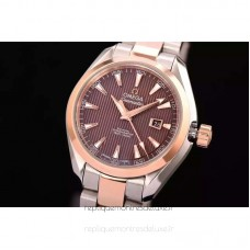 Replica Omega Aqua Terra Lady 34MM Rose Gold /Stainless Steel Brown Dial