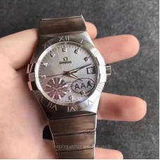 Replica Omega Constellation 123.10.38.21.52.001 38MM Stainless Steel Silver /Diamonds Dial