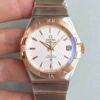 Réplique Omega Constellation 123.20.38.21.02.008 38MM Acier inoxydable /Or rose Blanc Dial