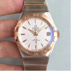 Replica Omega Constellation 123.20.38.21.02.008 38MM Stainless Steel /Rose Gold White Dial