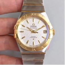 Replica Omega Constellation 123.20.38.21.02.009 38MM Stainless Steel /Yellow Gold White Dial