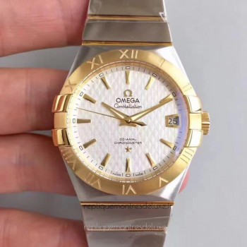 Réplique Omega Constellation 123.20.38.21.02.009 38MM Acier inoxydable /Or jaune Blanc Dial