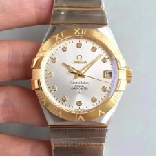 Replica Omega Constellation 123.20.38.21.52.002 38MM Stainless Steel /Yellow Gold Rhodium Dial