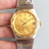 Réplique Omega Constellation 123.20.38.21.58.001 38MM Acier inoxydable /Or jaune Champagne Dial