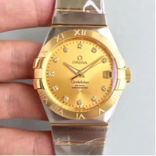 Replica Omega Constellation 123.20.38.21.58.001 38MM Stainless Steel /Yellow Gold Champagne Dial