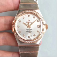 Replica Omega Constellation 123.25.38.21.52.001 38MM Stainless Steel /Rose Gold Rhodium Dial