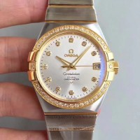 Réplique Omega Constellation 123.25.38.21.52.002 38MM Acier inoxydable /Or jaune Rhodium Dial