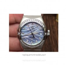 Réplique Omega Constellation Double Eagle Dame 27MM Acier inoxydable /Diamants Bleu Dial