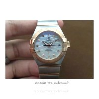Réplique Omega Constellation Double Eagle Dame 27MM Acier inoxydable /Or rose perle Dial