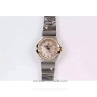 Réplique Omega Constellation Double Eagle Dame 27MM Acier inoxydable /Or rose Rose Dial