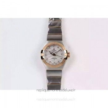 Réplique Omega Constellation Double Eagle Dame 27MM Acier inoxydable /Or rose Blanc Dial