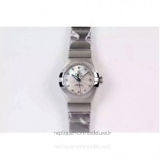 Réplique Omega Constellation Double Eagle Dame 27MM Acier inoxydable Blanc Dial