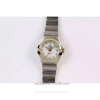 Réplique Omega Constellation Double Eagle Dame 27MM Acier inoxydable /Or jaune Blanc Dial