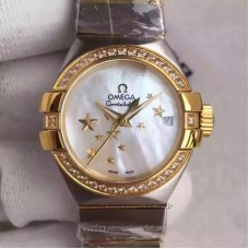 Réplique Omega Constellation Dames 123.25.27.20.05.001 27MM Acier inoxydable /Or jaune Mere de perle Dial