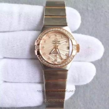 Réplique Omega Constellation Dames 123.25.27.20.57.003 27MM Acier inoxydable /Or rose Red /Diamants Dial