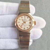 Réplique Omega Constellation Dames 123.25.27.20.58.001 27MM Acier inoxydable /Or rose Champagne /Diamants Dial