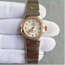 Réplique Omega Constellation Dames 123.25.27.20.58.001 27MM Acier inoxydable /Or rose Blanc /Diamants Dial