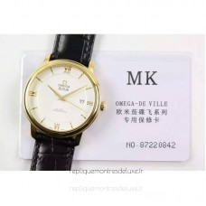 Replica Omega De Ville 39MM Yellow Gold White Dial