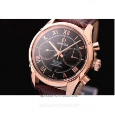 Réplique Omega De Ville 42MM Chronographe Or rose Noir Dial