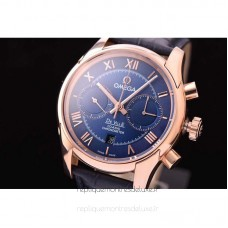 Réplique Omega De Ville 42MM Chronographe Or rose Bleu Dial