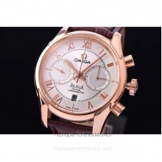 Replica Omega De Ville 42MM Chronograph Rose Gold White Dial