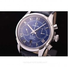 Replica Omega De Ville 42MM Chronograph Stainless Steel Blue Dial