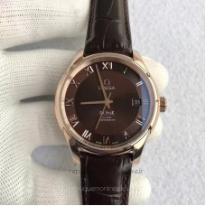 Réplique Omega De Ville Co-Axial 41MM 431.53.41.21.13.001 Or rose Chocolate Dial