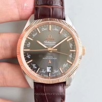 Réplique Omega Globemaster Annual Calendar 130.23.41.22.06.001 Acier inoxydable /Or rose Anthracite Dial