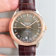 Replica Omega Globemaster Annual Calendar 130.23.41.22.06.001 Stainless Steel /Rose Gold Anthracite Dial