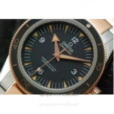 Replica Omega Seamaster 300 Stainless Steel /Rose Gold Black Dial