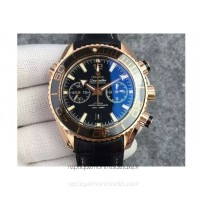 Replica Omega Seamaster Planet Ocean 600M Chronograph Rose Gold Black Dial