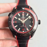 Réplique Omega Seamaster Planet Ocean 600M Deep Noir In Red GMT 215.92.46.22.01.003 PVD Noir Dial